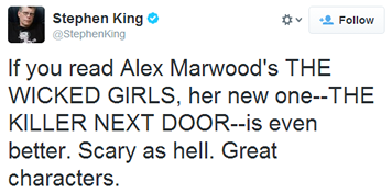 Stephen King Twitter on Alex Marwood